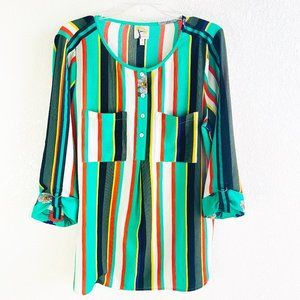 Fig & Flower Green Stripe & Floral Tunic Blouse